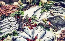 Φρέσκα ακατέργαστα θαλασσινά στο μετρητή στο εστιατόριο, μπλε φίλτρο Στοκ Φωτογραφία