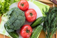 Φρέσκα ακατέργαστα λαχανικά, τοπ άποψη Στοκ Εικόνες