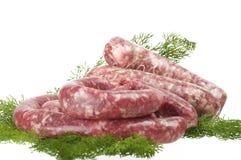 Φρέσκα ακατέργαστα λουκάνικα κρέατος Στοκ Εικόνες
