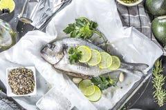 Φρέσκα ακατέργαστα ψάρια τσιπουρών που μαγειρεύουν μαύρο countertop πετρών, τοπ άποψη στοκ εικόνες με δικαίωμα ελεύθερης χρήσης