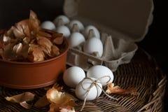 Φρέσκα αυγά κοτόπουλου στις φλούδες χαρτοκιβωτίων και κρεμμυδιών στο ψάθινο καλάθι στοκ φωτογραφία με δικαίωμα ελεύθερης χρήσης