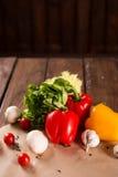 Φρέσκα λαχανικά, βουλγαρικό πιπέρι, μαρούλι, σκόρδο, μανιτάρια, ντομάτες κερασιών και καρυκεύματα στοκ εικόνα