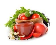 Φρέσκα λαχανικά και σάλτσα ντοματών Στοκ φωτογραφία με δικαίωμα ελεύθερης χρήσης
