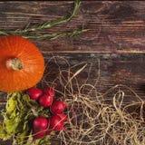 Φρέσκα λαχανικά στον ξύλινο πίνακα το φθινόπωρο Στοκ Εικόνες