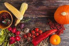 Φρέσκα λαχανικά στον ξύλινο πίνακα το φθινόπωρο Στοκ φωτογραφία με δικαίωμα ελεύθερης χρήσης