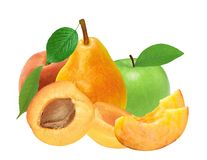 Φρέσκα βερίκοκο, ροδάκινο, μήλο και αχλάδι που απομονώνονται στο λευκό Στοκ φωτογραφία με δικαίωμα ελεύθερης χρήσης