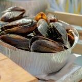 Φρέσκα βρασμένα μύδια στο τηγάνι σιδήρου εύγευστος ξηρός δεμάτων - απομονωμένο καρπός λευκό γραμμάτων Τ θαλασσινών Οστρακόδερμα Στοκ Φωτογραφία