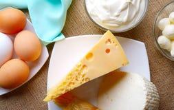 Φρέσκα γαλακτοκομικά προϊόντα για τα gourmets Στοκ Εικόνα