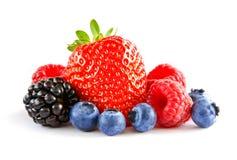 Φρέσκα γλυκά μούρα στο άσπρο υπόβαθρο Ώριμη Juicy φράουλα, σμέουρο, βακκίνιο, Blackberry στοκ φωτογραφία με δικαίωμα ελεύθερης χρήσης