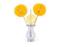 Φρέσκα λεμόνι και πορτοκάλι που απομονώνονται στο λευκό Στοκ Φωτογραφίες