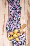 Φρέσκα εποχιακά αχλάδια στο ξύλινο backround Στοκ Εικόνα