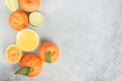 Φρέσκα εσπεριδοειδή Ασβέστης, tangerine, λεμόνι και χυμός διάστημα αντιγράφων Στοκ εικόνες με δικαίωμα ελεύθερης χρήσης