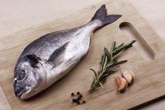 Φρέσκα θαλασσινά dorado σε μια ξύλινη σανίδα Στοκ εικόνα με δικαίωμα ελεύθερης χρήσης