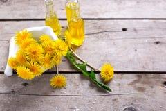 Φρέσκα κίτρινα λουλούδια tussilago λουλουδιών στο κονίαμα και το πνεύμα μπουκαλιών Στοκ Εικόνες