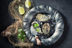 Φρέσκα και εύγευστα στρείδια με τα λεμόνια και το κορίανδρο Στοκ φωτογραφίες με δικαίωμα ελεύθερης χρήσης