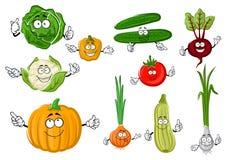 Φρέσκα και νόστιμα αγροτικά λαχανικά κινούμενων σχεδίων Στοκ Εικόνα