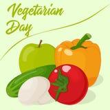 Φρέσκα και νόστιμα λαχανικά για το σχέδιό σας Υπόβαθρο για την παγκόσμια χορτοφάγο ημέρα στο ύφος κινούμενων σχεδίων επίσης corel Στοκ Εικόνες