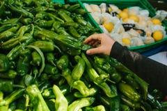 Φρέσκα και οργανικά λαχανικά στην αγορά αγροτών αγορά Φυσικά προϊόντα πάπρικα Πιπέρι Φυσικά τοπικά προϊόντα επάνω Στοκ Φωτογραφίες