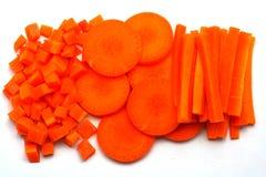Φρέσκα καρότα που τεμαχίζονται και που χωρίζονται σε τετράγωνα Στοκ φωτογραφίες με δικαίωμα ελεύθερης χρήσης