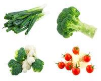 Φρέσκα κουνουπίδι και μπρόκολο, πράσινο κρεμμύδι και στοκ εικόνα με δικαίωμα ελεύθερης χρήσης