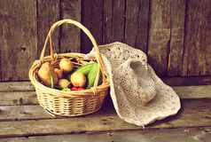 φρέσκα λαχανικά καλαθιών στοκ φωτογραφίες με δικαίωμα ελεύθερης χρήσης