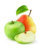 Φρέσκα μήλο και αχλάδι που απομονώνονται Στοκ Εικόνες