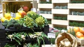 Φρέσκα οργανικά λαχανικά στο μετρητή απόθεμα βίντεο