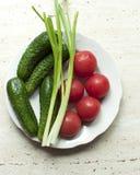 Φρέσκα οργανικά ντομάτες και αγγούρια με τα πράσινα κρεμμύδια σε ένα άσπρο πιάτο Στοκ φωτογραφία με δικαίωμα ελεύθερης χρήσης
