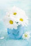 Φρέσκα λουλούδια μαργαριτών στο μπλε γυαλί Στοκ εικόνα με δικαίωμα ελεύθερης χρήσης