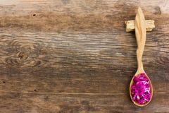 Φρέσκα πέταλα λουλουδιών σε ένα ξύλινο κουτάλι Στοκ εικόνες με δικαίωμα ελεύθερης χρήσης
