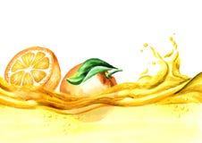 Φρέσκα πορτοκάλια σε ένα κύμα του χυμού, συρμένη χέρι απεικόνιση watercolor απεικόνιση αποθεμάτων