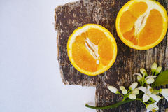 Φρέσκα πορτοκάλια με τα φύλλα και πορτοκαλιά λουλούδια δέντρων στο αγροτικό ξύλο Στοκ φωτογραφία με δικαίωμα ελεύθερης χρήσης