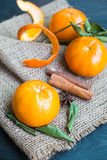 Φρέσκα πορτοκάλι και φύλλο στο σάκο κάνναβης Στοκ Εικόνες