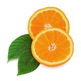 Φρέσκα πορτοκαλιά φρούτα τα πράσινα φύλλα που απομονώνονται με στο λευκό. Στοκ φωτογραφία με δικαίωμα ελεύθερης χρήσης