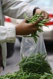 Φρέσκα πράσινα προϊόντα αγοράς φασολιών υπαίθρια Στοκ Εικόνες