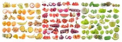 Φρέσκα πράσινα φρούτα, κίτρινα φρούτα και κόκκινο fruitsfruit στο άσπρο BA Στοκ Φωτογραφία