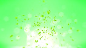 Φρέσκα πράσινα φύλλα που αφορούν το πράσινο υπόβαθρο Κομφετί φύλλων CG Ζωτικότητα βρόχων διανυσματική απεικόνιση
