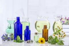 Φρέσκα πράσινες εγκαταστάσεις και λουλούδια Aromatherapy botle του ουσιαστικού πετρελαίου Στοκ Φωτογραφίες