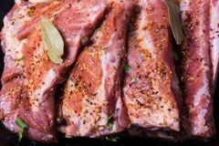 Φρέσκα πλευρά potk που μαρινάρονται για BBQ Στοκ εικόνα με δικαίωμα ελεύθερης χρήσης
