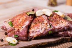 Φρέσκα πλευρά potk που μαρινάρονται για BBQ Στοκ Εικόνα