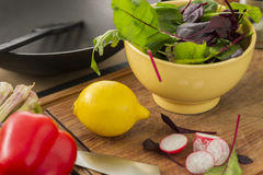 Φρέσκα συστατικά για την κατασκευή μιας σαλάτας Στοκ Εικόνα
