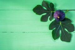 Φρέσκα σύκα με τα φύλλα στο πράσινο ξύλινο υπόβαθρο Στοκ εικόνες με δικαίωμα ελεύθερης χρήσης