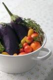 Φρέσκα υγρά θερινά λαχανικά σε ένα τρυπητό Στοκ φωτογραφία με δικαίωμα ελεύθερης χρήσης