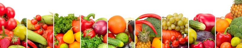 Φρέσκα φρούτα και λαχανικά συλλογής που απομονώνονται στο άσπρο backgro Στοκ εικόνα με δικαίωμα ελεύθερης χρήσης