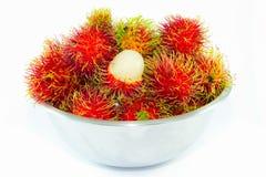 Φρέσκα φρούτα Rambutan στο άσπρο υπόβαθρο Στοκ Φωτογραφία