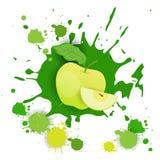 Φρέσκα φυσικά τρόφιμα σχεδίου παφλασμών Watercolor λογότυπων φρούτων της Apple Στοκ Φωτογραφία
