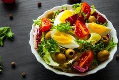 Φρέσκα φύλλα σαλάτας μιγμάτων με την ντομάτα, τα αυγά και την ελιά στο κύπελλο στο σκοτεινό ξύλινο υπόβαθρο Στοκ Φωτογραφίες
