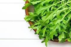 Φρέσκα φύλλα arugula στο πιάτο Στοκ Εικόνα