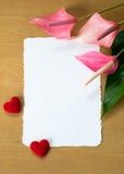 Φρέσκα Anthurium λουλούδια και κενή κάρτα Στοκ Εικόνα