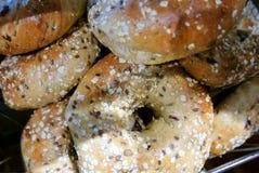 Φρέσκα Bagels Multigrain στο αρτοποιείο Στοκ εικόνες με δικαίωμα ελεύθερης χρήσης